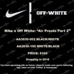 NIKE x OFF-WHITE AIR PRESTO が2018年4月or5月に発売へ